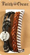 Men's Faith Gear Leather Bracelet: John 3:16 Multi, Leather + Original Castings (Multiple Colors) Jewellery