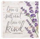 Tabetop Decor: Love is Patient Love is Kind Purple Flowers (1 Cor 13) Plaque