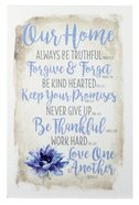 New Horizons Plaque: Our Home Always Be Beautiful... Blue Flower/Beige Plaque
