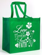 Tote Bag: Love is the Flower of the Seed of Faith, Dark Turquoise/White Soft Goods