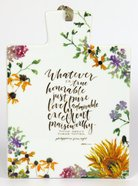Gracelaced Ceramic Trivet: Whatever is True, White/Country Floral Homeware