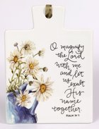 Gracelaced Ceramic Trivet: O Magnify the Lord, Sunflower in Blue Vase Homeware