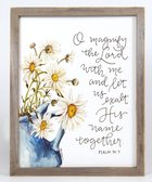 Gracelaced Wood Framed Plaque: Magnify the Lord, White/Sunflowers in Blue Vase Plaque