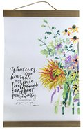 Gracelaced Hanging Banner: Whatever is True, White/Country Floral Homeware