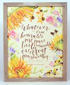 Gracelaced Wood Framed Plaque: Whatever is True, Yellow/Country Floral Plaque