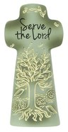 Sentiment Double-Sided Cross: Serve the Lord, Pale Green, as For Me and My House, We Serve the Lord Homeware