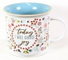 Ceramic Mug: Today I Will Choose Joy, Floral Pattern/Blue Inside (Choose Joy Collection Series) Homeware