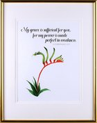 Medium Gold Framed Print: Australian Native Kangaroo Paw Flower, 2 Corinthians 12:9 Plaque