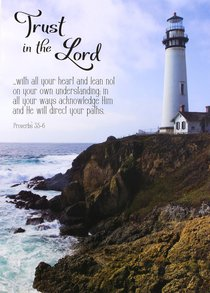 Poster Large: Trust in the Lord, Lighthouse on Rocky Hill