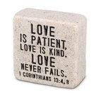 Plaque Scripture Stone: Love, Cast Stone Block (1 Cor 13:4 & 8) Plaque