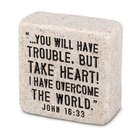 Stone Scripture Block: Take Heart (John 16:33) Homeware