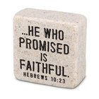 Plaque Scripture Stone: Faithful, Cast Stone Block (Hebrews 10:23) Plaque
