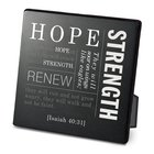 Metal Plaque Simple Faith: Hope, Black/White (Isaiah 40:31) Plaque