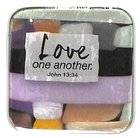 Reflections Glass Magnet: L Love One Another (Purple/Light Green) (John 13:34)