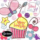 Napkins: Girl Happy Birthday, Cupcake/Butterfly, Filled With Joy (Psalm 126:3) Homeware