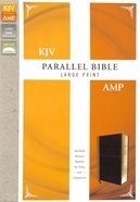 Kjv/Amp Parallel Bible Large Print Tan/Burgundy (Kjv Red Letter, Amp Black Letter) Premium Imitation Leather