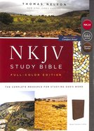 NKJV Study Bible Brown Full-Color (Black Letter Edition) Genuine Leather
