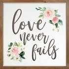 Carved Wall Art: Love Never Fails Plaque