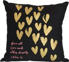 Love Collection Pillow: Love Each Other, Black With Gold Hearts
