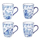 Ceramic Mugs 355ml: Blue Floral, Hope Pray Believe Love (Set Of 4) Homeware