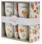 Ceramic Mugs 355ml: Floral, Faithful Grateful Thankful Joyful (Set of 4) (Grateful Collection) Homeware