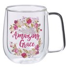 Glass Mug: Amazing Grace, Burgundy Floral (296ml) Homeware