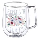 Glass Mug: Strength and Dignity, Blue Floral (296ml) Homeware