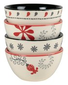 Ceramic Mini Bowls Set of 4: Joy; Love, Heart; Grace, White/Red/Black (Scribbles Kitchen Collection) Homeware