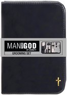 Mang: Man of God Mens Grooming Kit, Black Zipper Case, Cross Imitation Leather