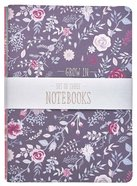 Notebook: Faith, Grace, Love, Floral Purple/Pink/Blue (Set Of 3) Paperback