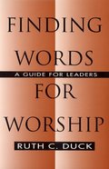 Finding Words For Worship Paperback