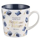 Ceramic Mug 414ml, White With Navy Graduation Hats, Navy Inside (Jer 29: 11) (Graduation Collection) Homeware