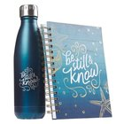 Gift Set- Be Still and Know, Wire Bound Journal and Stainless Steel Water Bottle, Sea Blue (Be Still Collection) Pack