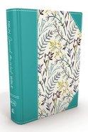 NKJV Journal the Word Bible Large Print Blue Floral (Red Letter Edition) Hardback