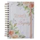 Journal: Strength and Diginity, With Elastic Band, Floral Spiral