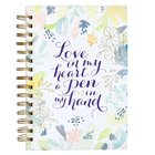 Journal- Love in My Heart a Pen in My Hand - White Floral (Love In My Heart Collection) Spiral