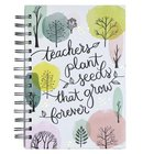 Journal: Teachers Plant Seeds, Tree Print Spiral