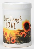 Ceramic Utensil Crock: Live, Laugh, Love, Sunflowers Homeware