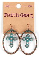Women's Faith Gear Earrings: Oval Crosses, Copper Jewellery