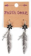 Women's Faith Gear Earrings: Flower, Feather, Cross (Antique Silver) Jewellery