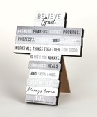 Stacked Wood Cross: Believe, Mdf, Easel Back, Wall Hanging Option Plaque