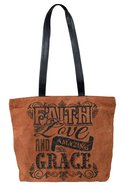 Leather Tote Bag: Faith Love and Amazing Grace, 40Cm X 32Cm, Handle 32Cm Long Homeware