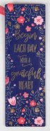 Bookmark: Grateful Heart, Navy With Pink Flowers Imitation Leather