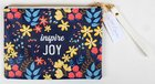 Zipper Pouch: Inspire Joy, Blue/Yellow/Red Floral Imitation Leather