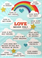Poster Large: Love Never Fails, Clouds/Rainbow Poster