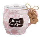 Ceramic Mug Pretty Prints: Strong & Courageous, Pale Pink/White (Matthew 19:26) Homeware