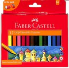 Faber Castell Triangular Grip Erasable Wax Crayons Box of 12 Stationery
