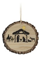Christmas Mdf Ornament: Nativity Log, Round Shape Homeware