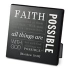 Metal Plaque Simple Faith: Faith, Black/White (Matthew 19:26) Plaque