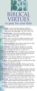 31 Biblical Virtues to Pray For Your Kids (Pack Of 50) Pack